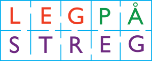 Leg på streg logo - hvid baggrund